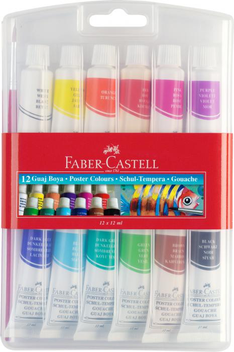 Tempera Acuarele 12 Culori 12ml Faber-Castell 0