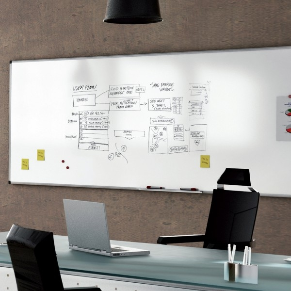 Whiteboard simplu cu rama din aluminiu emailat Rocada 4
