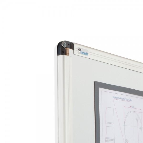 Whiteboard simplu cu rama din aluminiu emailat Rocada 3