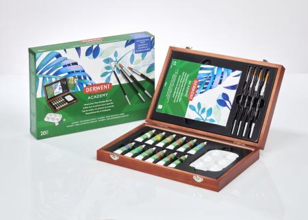 Acuarele 12 Culori x 12 ml, cutie din lemn, 20 buc/set Derwent Academy7