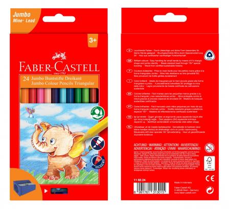Creioane Colorate Triunghiulare Jumbo 24 culori Faber-Castell0