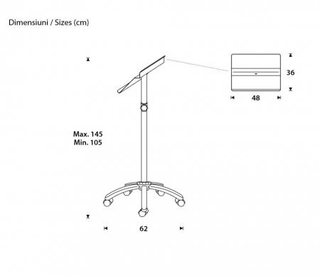 Pupitru mobil pentru prezentari, metalic, inaltime reglabila Rocada1