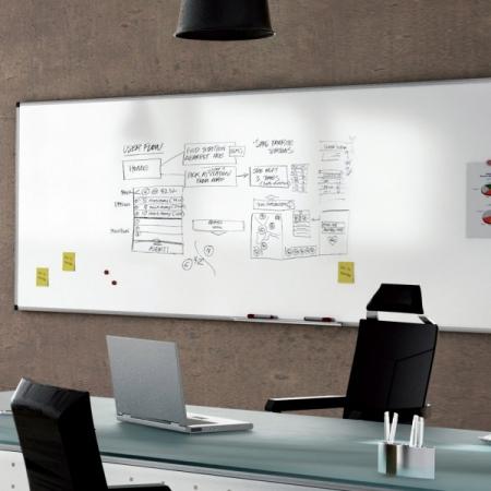 Whiteboard simplu cu rama din aluminiu emailat Rocada4