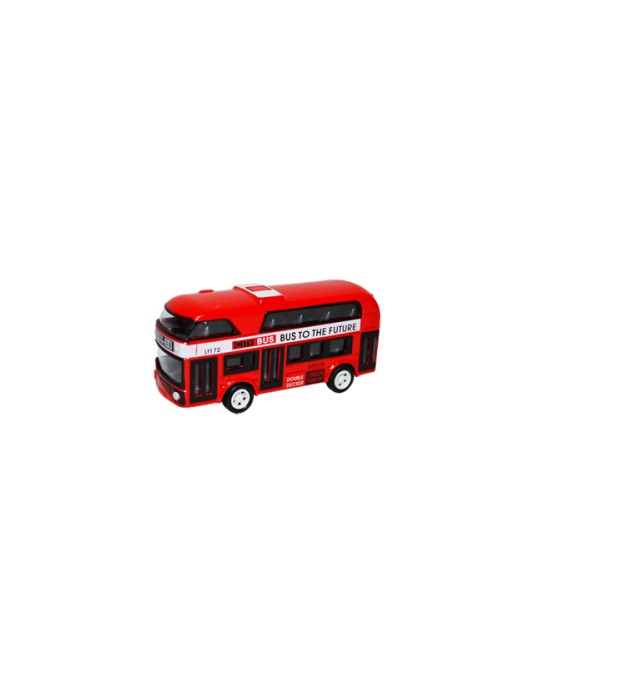Autobuz metalic Vision, rosu, supraetajat, scara 1:26 [0]