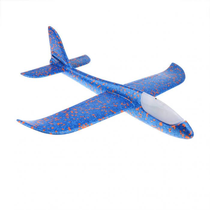 Avion planor Vision din polistiren cu LED, Albastru, lungime 30 cm, Robentoys [0]