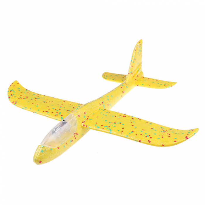 Avion planor din polistiren cu LED, Galben, lungime 30 cm, Vision [0]