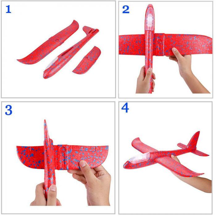 Avion planor din polistiren cu LED, Rosu, lungime 30 cm, Vision [2]