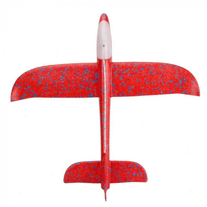 Avion planor din polistiren cu LED, Rosu, lungime 30 cm, Vision [1]