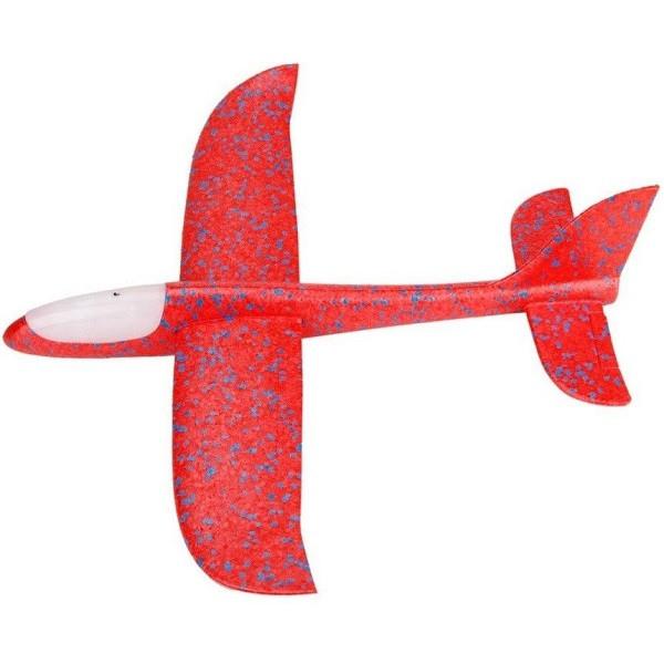 Avion planor din polistiren cu LED, Rosu, lungime 30 cm, Vision [0]