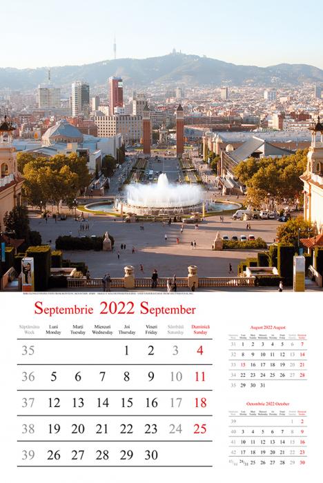 Calendar de Perete 2022, EUROPE, 31,5x48cm, 12 File+Coperta, spira metalica dubla [1]