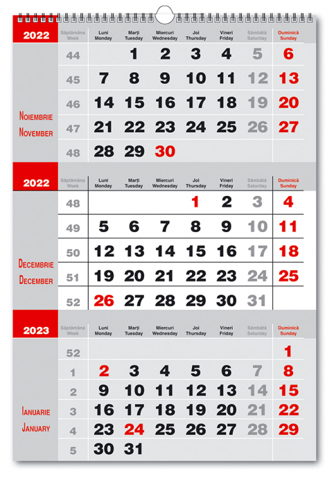 Calendar de Perete 2022 Triptic 2 culori, pe fond gri, 33x48cm, spira metalica dubla [0]