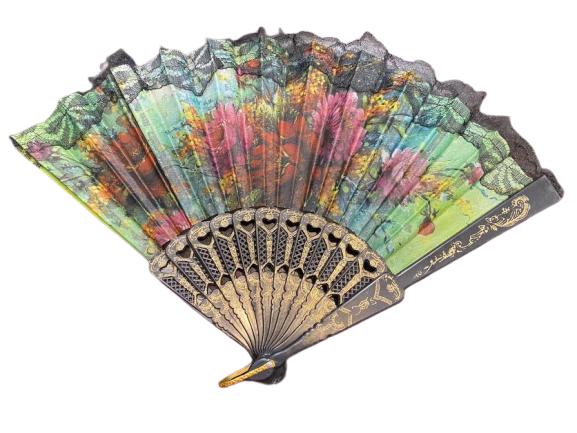 Evantai Vision, material textil, imprimeu floral, cu dantela, negru [0]