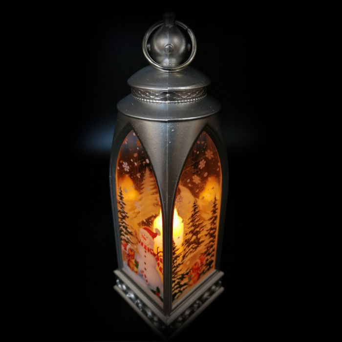 Felinar 15 cm, cu led lumina calda, motive de Craciun, argintiu-Vision [3]