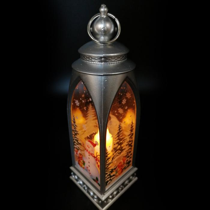 Felinar 15 cm, cu led lumina calda, motive de Craciun, argintiu-Vision [2]