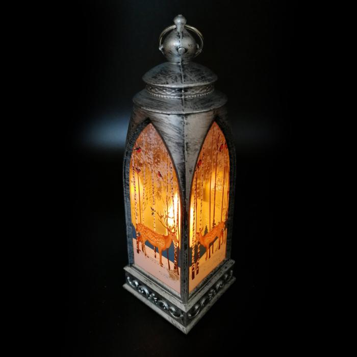 Felinar 15 cm, cu led lumina calda, motive de Craciun, argintiu antichizat-Vision [1]