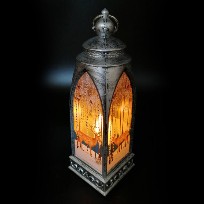 Felinar 15 cm, cu led lumina calda, motive de Craciun, argintiu antichizat-Vision [2]