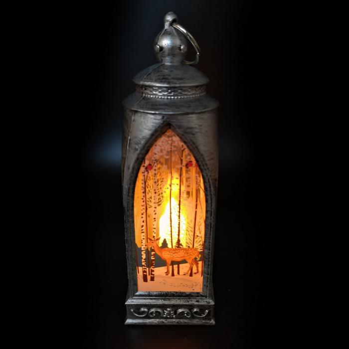 Felinar 15 cm, cu led lumina calda, motive de Craciun, argintiu antichizat-Vision [3]