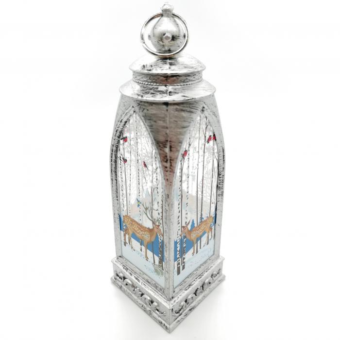 Felinar 15 cm, cu led lumina calda, motive de Craciun, argintiu antichizat-Vision [4]