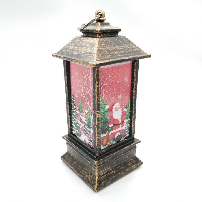 Felinar Craciun - Vision,13 cm cu lumina LED calda sclipitoare, culoare bronz maro [0]