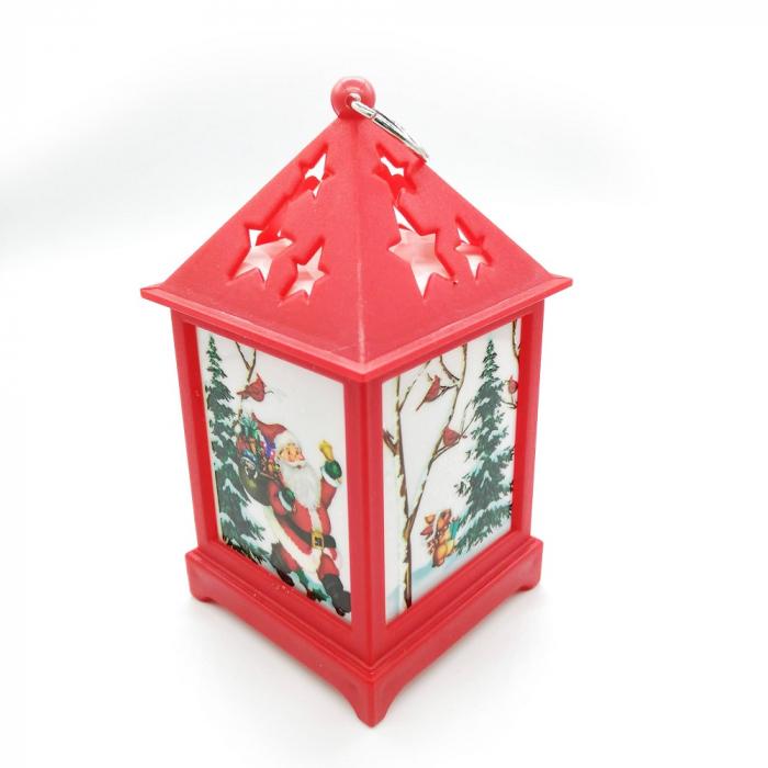 Felinar cu motive de  Craciun - Vision, 12 cm cu lumina LED calda, sclipitoare, rosu [0]
