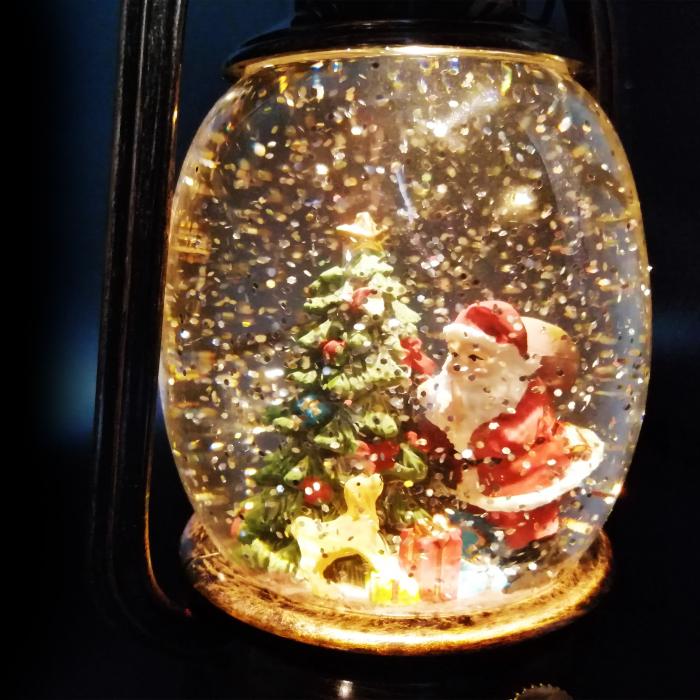 Felinar luminos si muzical, Vision, cu motive de Craciun, glob cu apa, efecte de ninsoare 20 cm, culoare bronz [3]