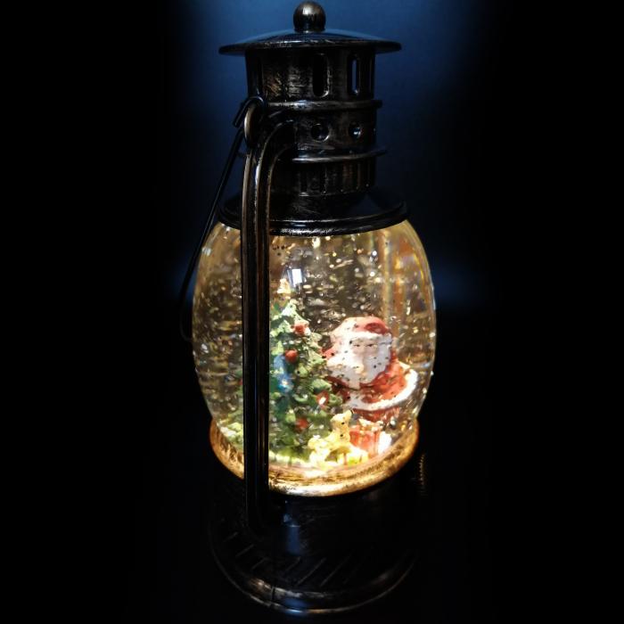 Felinar luminos si muzical, Vision, cu motive de Craciun, glob cu apa, efecte de ninsoare 20 cm, culoare bronz [5]