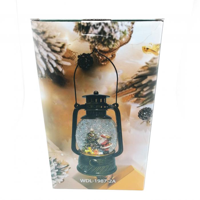 Felinar luminos si muzical, Vision, cu motive de Craciun, glob cu apa, efecte de ninsoare 20 cm, culoare bronz [2]