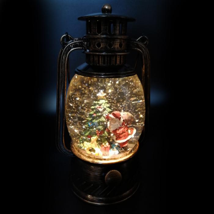 Felinar luminos si muzical, Vision, cu motive de Craciun, glob cu apa, efecte de ninsoare 20 cm, culoare bronz [4]