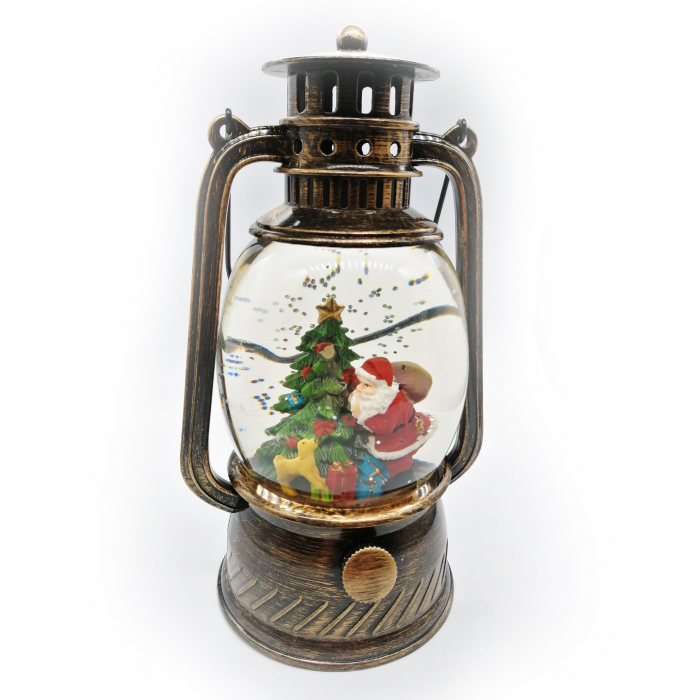 Felinar luminos si muzical, Vision, cu motive de Craciun, glob cu apa, efecte de ninsoare 20 cm, culoare bronz [0]