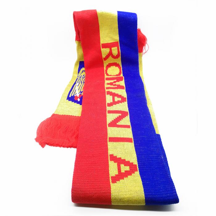Fular Tricolor Romania, tricotat,15x160 cm, cu franjuri Vision [1]