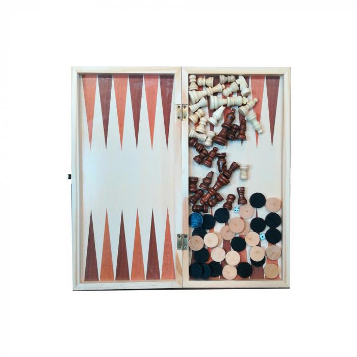 Joc de sah, table si dame- Vision, 33 x 33 cm, cutie si piese din lemn, cu toate piesele incluse [0]
