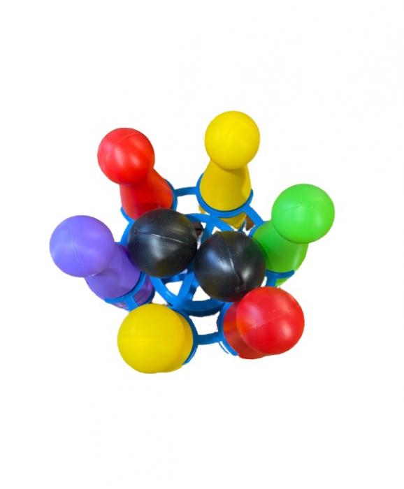 Jucarie de indemanare Vision pentru copii, popice din plastic, set 6 buc si 2 mingi ATS [0]