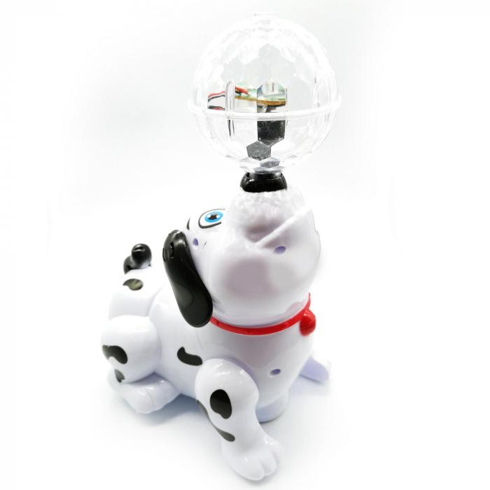 Jucarie interactiva Vision cu baterii, Catel cu minge care canta, lumineaza si se roteste [0]
