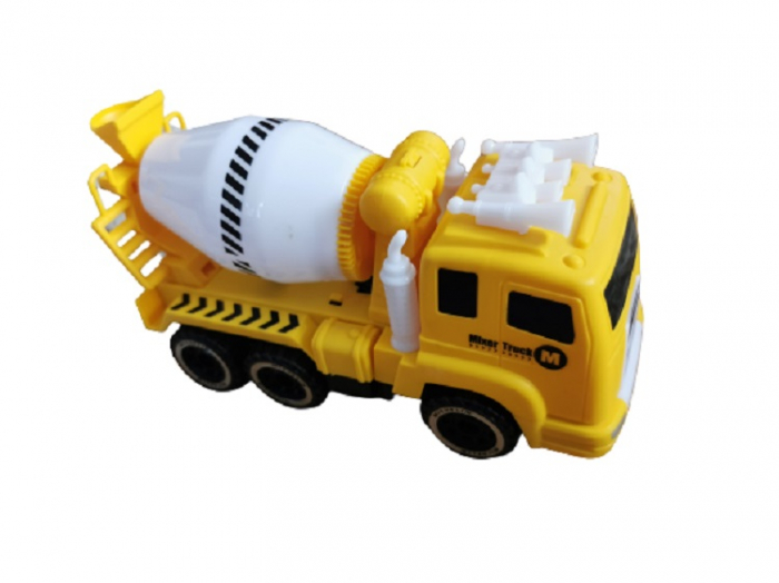 Jucarie pentru baieti, camion tip betoniera pentru constructii, cu baterii, sunet si lumina, aspect realist, galben cu negru, Vision [2]