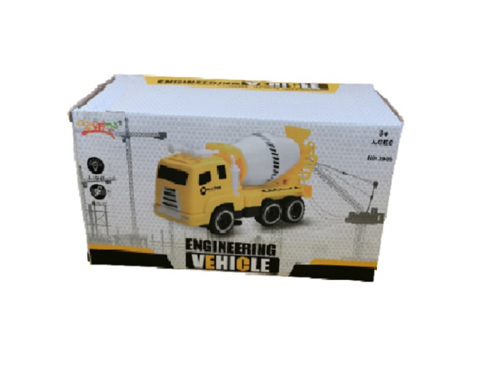 Jucarie pentru baieti, camion tip betoniera pentru constructii, cu baterii, sunet si lumina, aspect realist, galben cu negru, Vision [1]