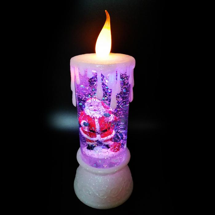 Lumanare Craciun cu led luminos, Vision, alb, efect de ninsoare in glob cu apa, 28 cm [2]