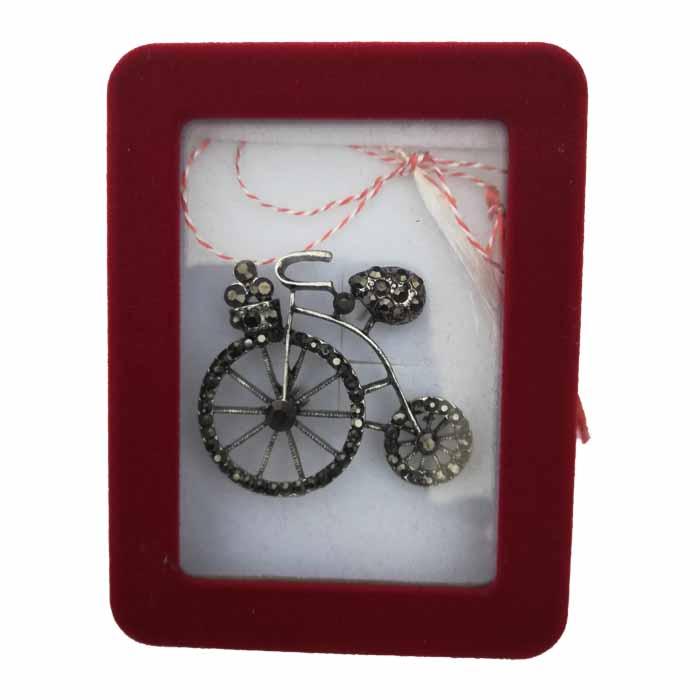 "Martisor Brosa mare ""Bicicleta clasica"" in cutie de catifea cu fereastra Vision [1]"
