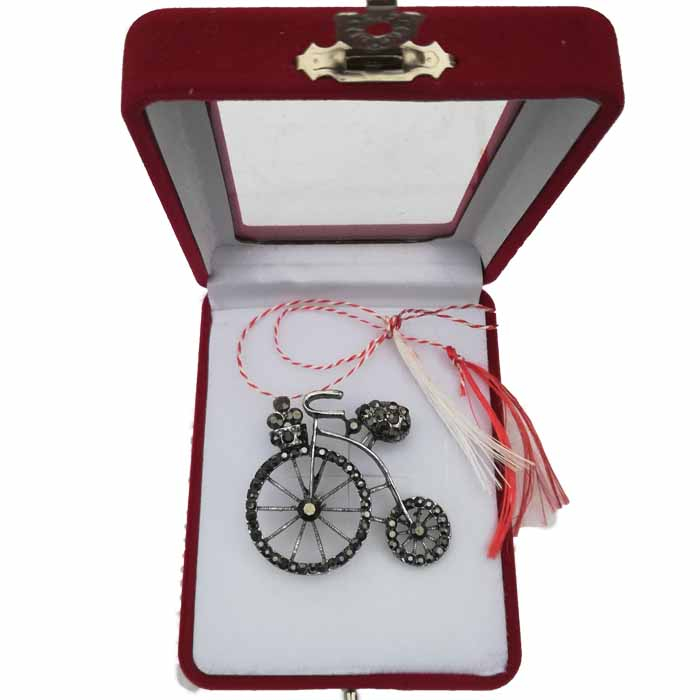 "Martisor Brosa mare ""Bicicleta clasica"" in cutie de catifea cu fereastra Vision [0]"