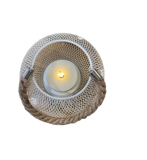 Ornament alb din plasa metaliza, 20 de cm cu led Vision [1]