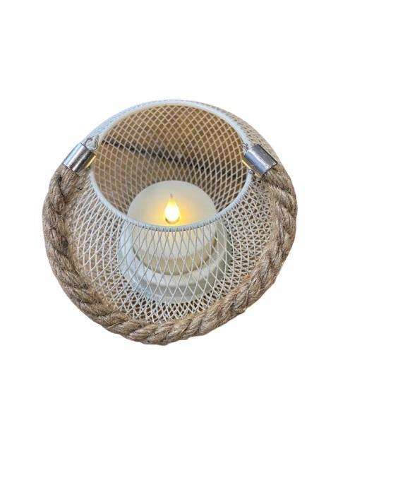 Ornament alb din plasa metaliza, 20 de cm cu led Vision [0]