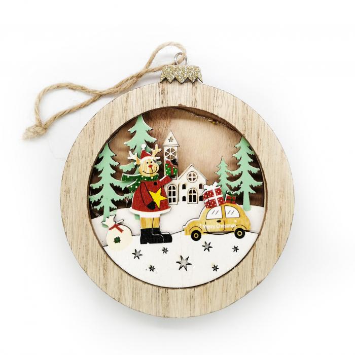 Ornament de Craciun, din lemn cu lumina, 10 cm Vision [0]