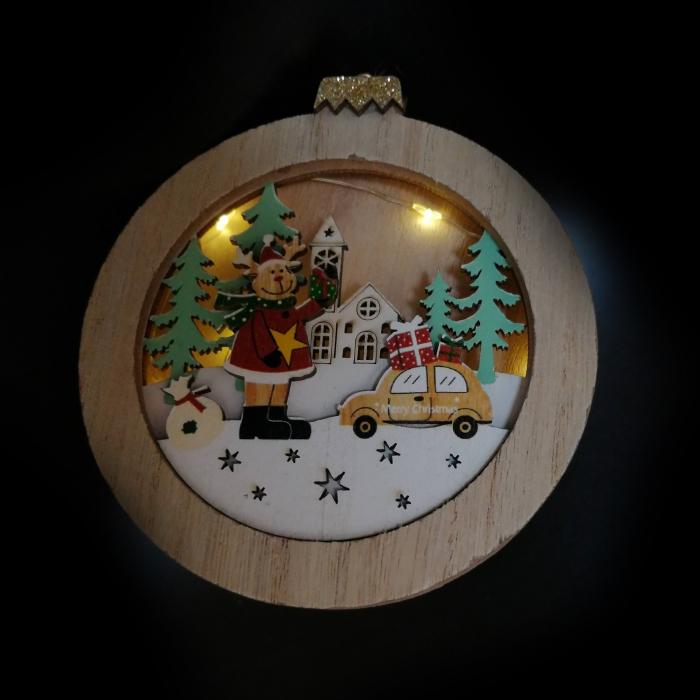 Ornament de Craciun, din lemn cu lumina, 10 cm Vision [1]