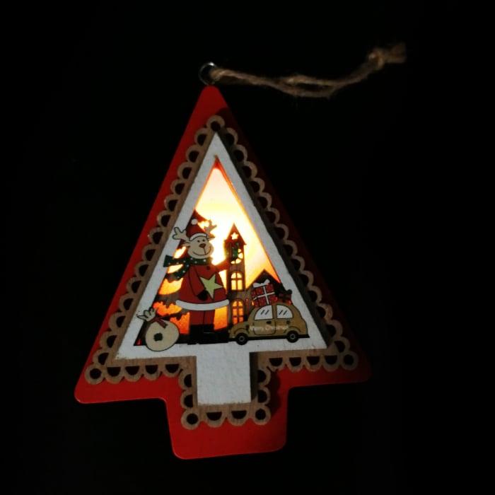 Ornament de Craciun din lemn, cu lumina, de 11 cm Vision [1]