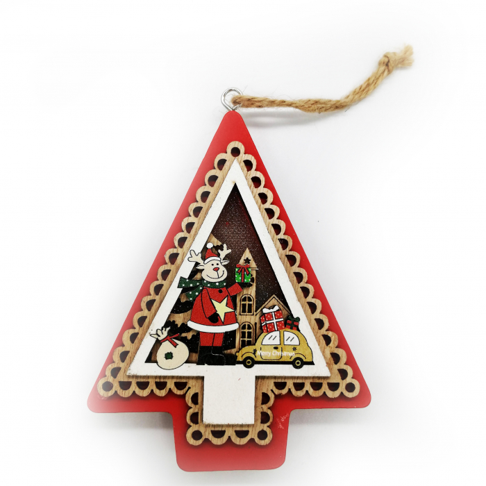 Ornament de Craciun din lemn, cu lumina, de 11 cm Vision [0]