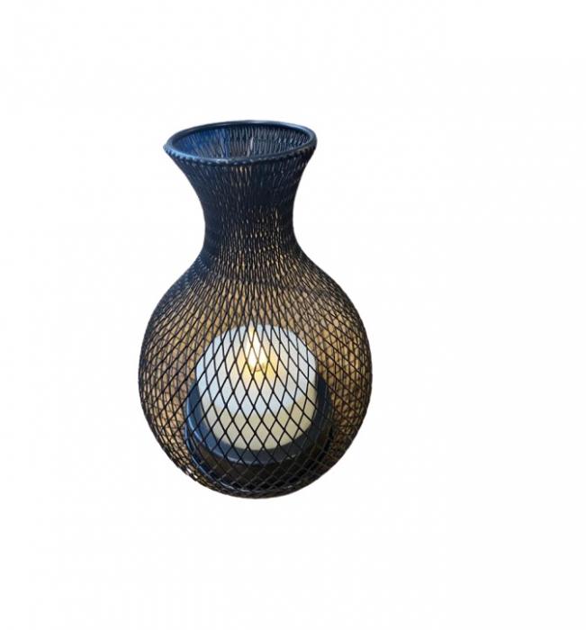 Ornament negru Vision din plasa metalica cu candela sub forma de led [0]