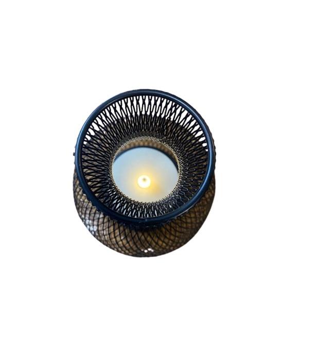 Ornament negru Vision din plasa metalica cu candela sub forma de led [1]
