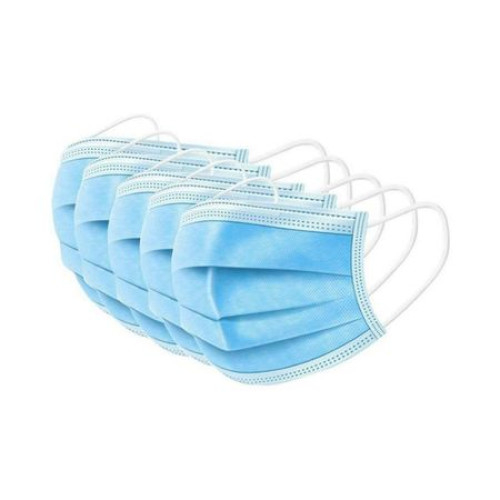 Pachet 50 masti unica folosinta Vision cu 3 pliuri si 3 straturi, elastic, Albastru, protectie 98% [0]