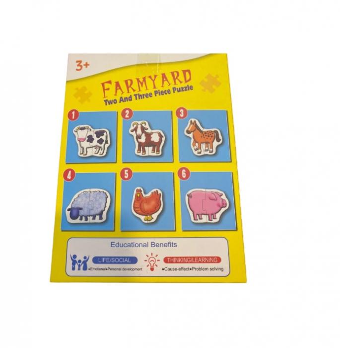 Pachet 6 puzzle Farmyard- Vision cu doua sau trei piese mari 18x13 cm [1]