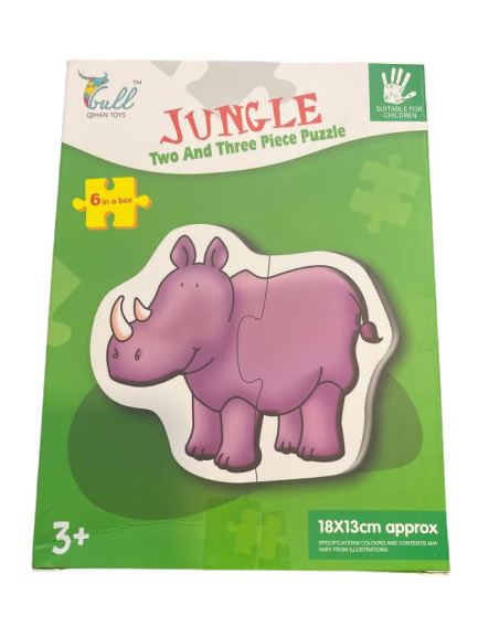 Pachet 6 puzzle Jungle- Vision cu doua sau trei piese mari 18x13 cm [0]