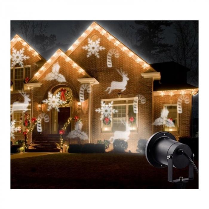 Proiector Laser Vision cu diapozitiv rezerva, Interior/Exterior, Efecte de Lumini pentru Craciun, Culoare Lumini Alb, Rosu, Verde, Albastru [1]